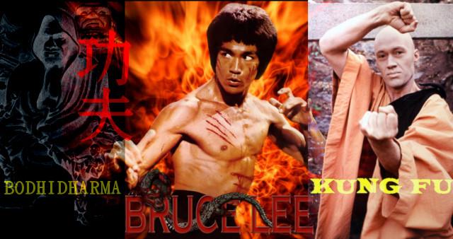 Bodhidharma fundador de kung-fu shaolin, Brude Lee, quien popularizó el kung-fu en occidente y Kwai Chang Caine, personaje de la serie Kung-Fu.