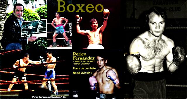 Perico Fernandez, excampeón del mundo de Boxeo, recordando viejos momentos de gloria y a la derecha el 'León de Aragón'.