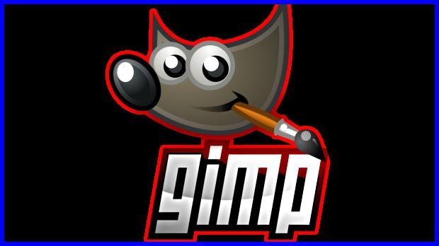 Contornos rojos y azules creados con Gimp.