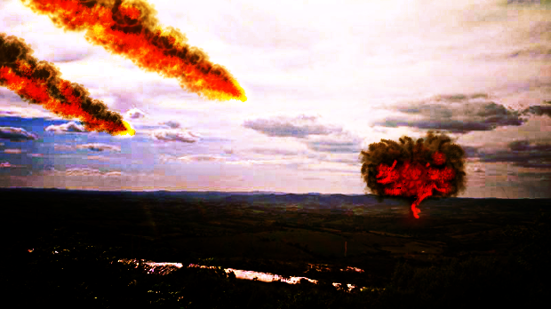Meteoro humeante en colisión terrestre con Gimp