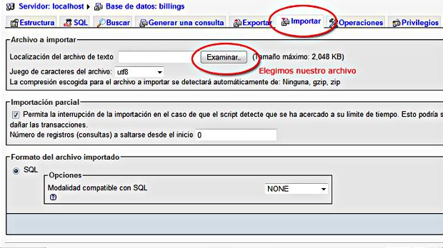 Importar en PHPMyAdmin